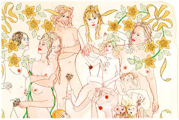 embroidery as a drawing medium while using societies notions of the media to her ends