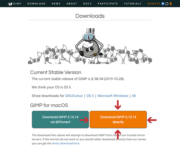GIMP-Dowload-Page