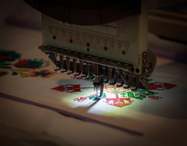 Embroidery machine close up