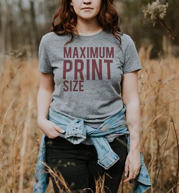 Woman in screenprinted t-shirt. How big can I print?