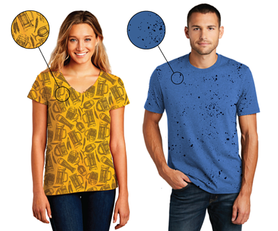 All-over print patterns that work well on tshirts.